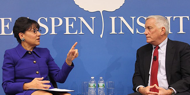 US Secretary of Commerce Penny Pritzker and President and CEO of the Aspen Institute Walter Isaacson at the launch of the Communities that Work Partnership in April 2015.